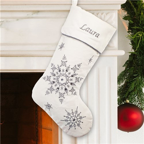 Personalized Silver Snowflake Christmas Stocking