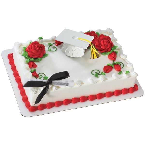 Graduation White Cap Hat with Tassels & Diploma with Black Ribbon Cake Topper Decoration
