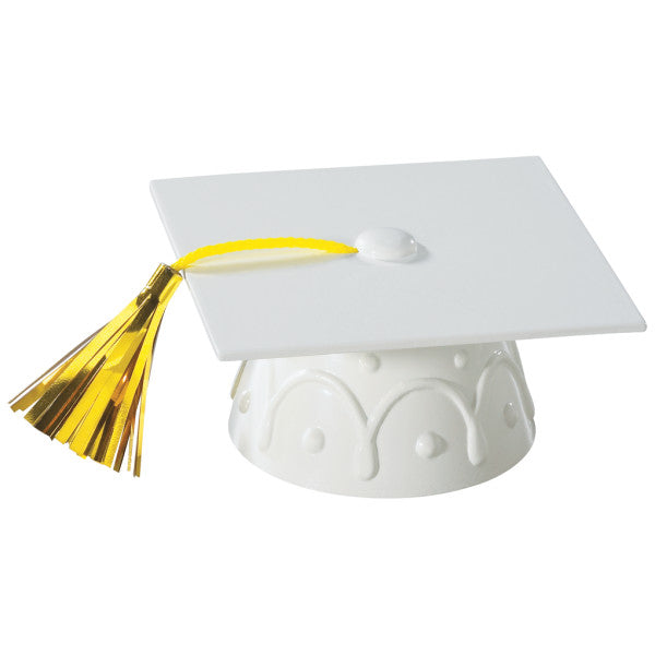 Graduation Cap Cake Topper Decoration with Tassel - White