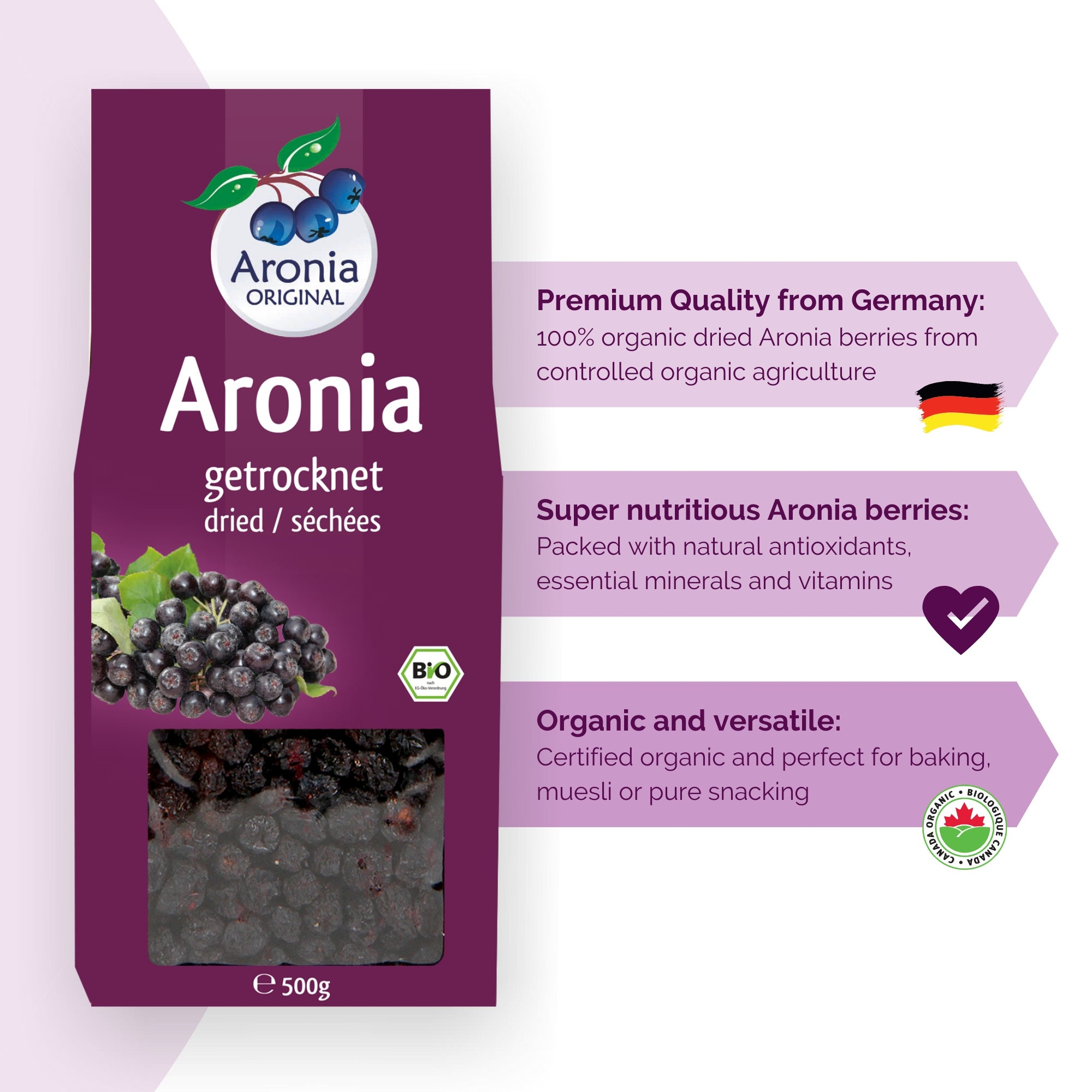 Organic Aronia Berries Dried (500g)