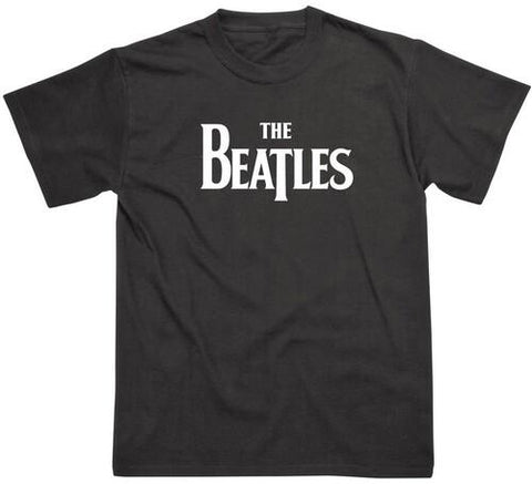 THE BEATLES Solid Drop T Logo Black Unisex Short Sleeve T-Shirt