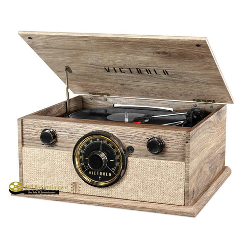 VICTROLA 4-in-1 Cambridge Farmhouse Modern Bluetooth Turntable With Fm Radio, Farmhouse Oatmeal - 852 Entertainment