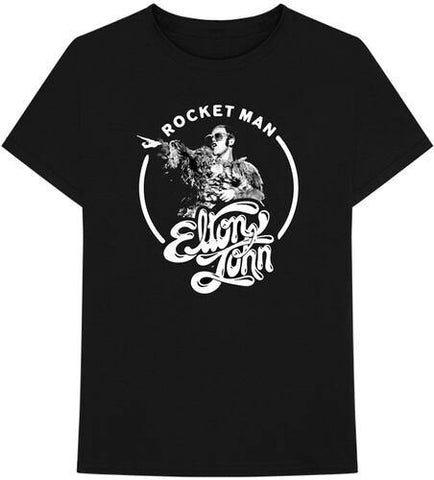 Elton John Rocketman Circle Black Unisex Short Sleeve T-shirt