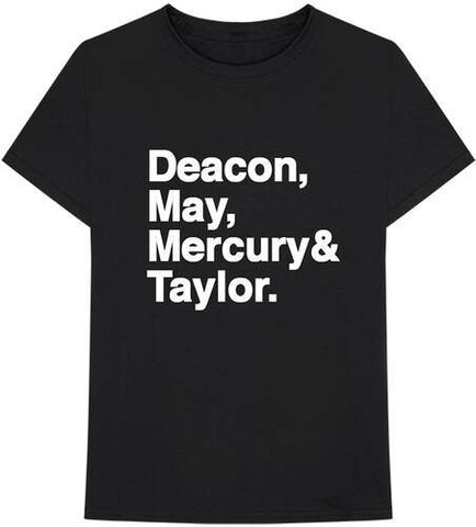Queen Deacon, May, Mercury & Taylor. Helvetica Band Black Unisex Short Sleeve T-shirt