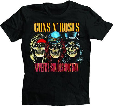 Guns N Roses Appetite For Destruction Skulls Black Unisex Short Sleeve T-Shirt