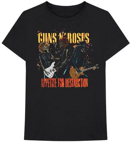 Guns N Roses Appetite For Destruction Skeletons & Guitars Black Unisex Short Sleeve T-shirt