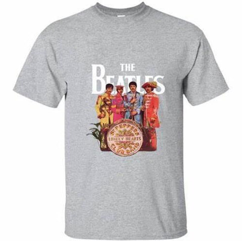 THE BEATLES Sgt. Pepper Band Heather Grey Unisex Short Sleeve T-Shirt