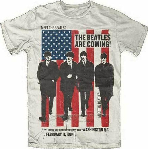 THE BEATLES Are Coming Live In America For The First Time Washington DC February 11, 1964 Sand Unisex Short Sleeve T-Shirt - 852 Entertainment