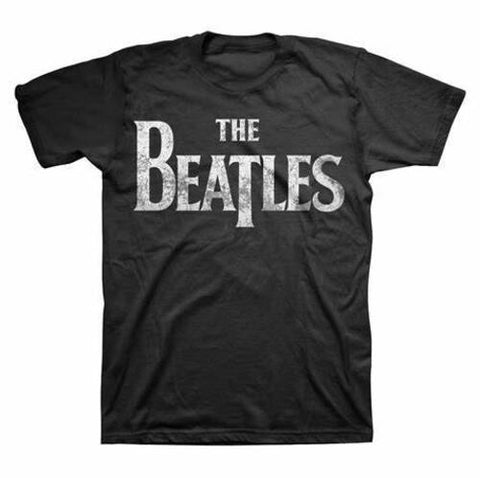 THE BEATLES Distressed Drop T Logo Black Unisex Short Sleeve T-Shirt