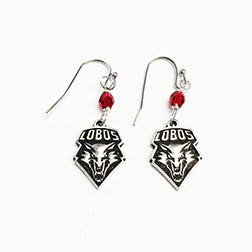 Lobo Shield Earrings with Red Crystal Bead