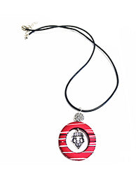 Lobo Shield Striped Pendant on Leather Cord