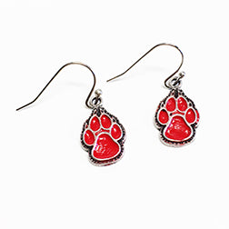 Red Lobo Paw Earrings