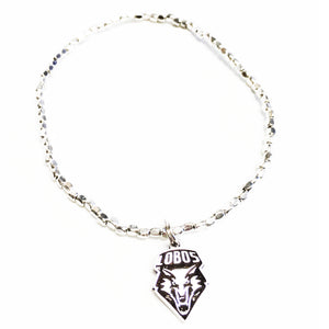 Lobo Chevron silver beaded stretch bracelet 20148BR
