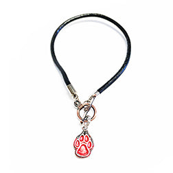 Red Lobo Paw Charm on Leather Toggle Bracelet