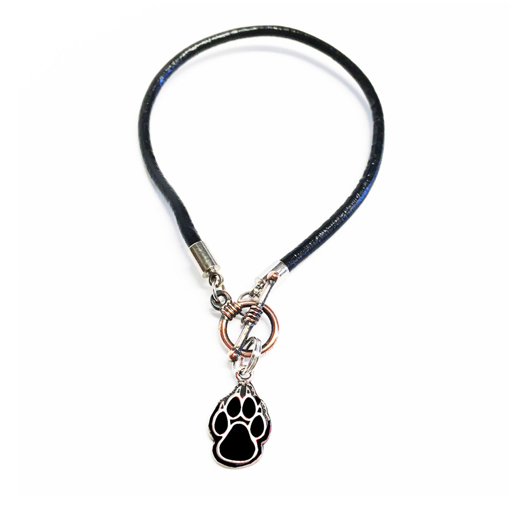 Leather Toggle Bracelet with Black Lobo Paw