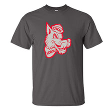 Load image into Gallery viewer, UNM Retro Lobo Charcoal Tee