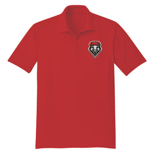 Men's Red Polo with Embroidered Shield