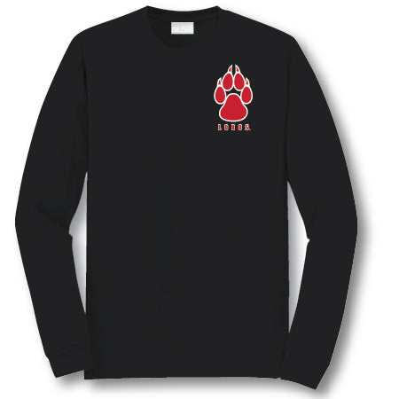 Black Long Sleeve Lobos Paw Shirt