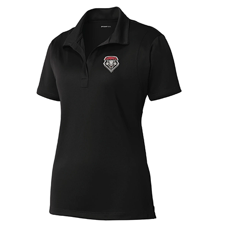 Women's Performance Polo- Black with Shield