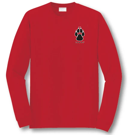 Red Long Sleeve Lobos Paw Shirt- Youth