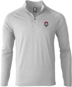 Ladies Light Grey Performance 1/4 Zip with Shield