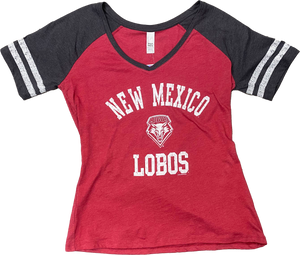 Ladies Lobos Retro Jersey V-Neck Tee