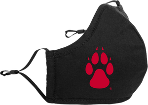 Black Adjustable Cloth Mask with Red Paw