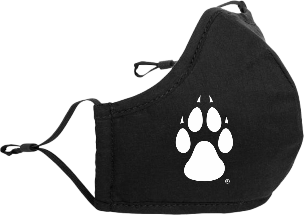 Black Adjustable Cloth Mask with White Paw