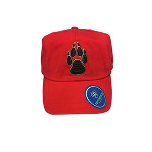 UNM Red Buckle Hat with Black Paw
