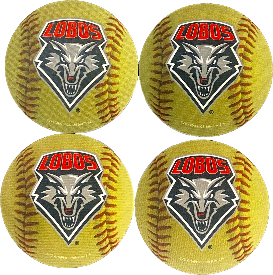 Lobo Sports Sublimated Coasters (4pk): Softball