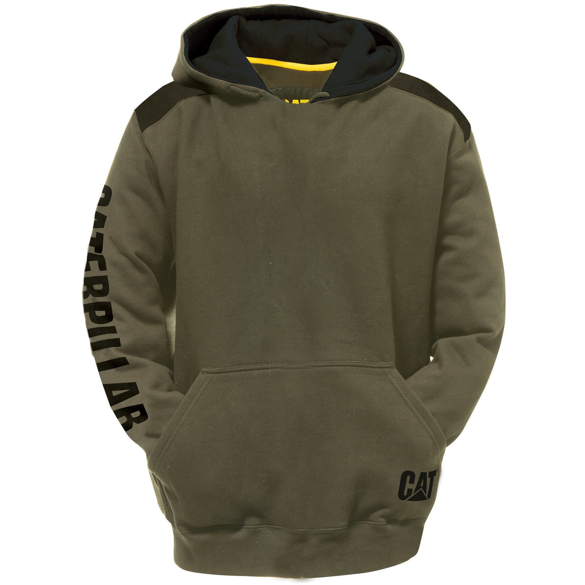 CAT Logo Panel Hooded Sweatshirt Army Moss
