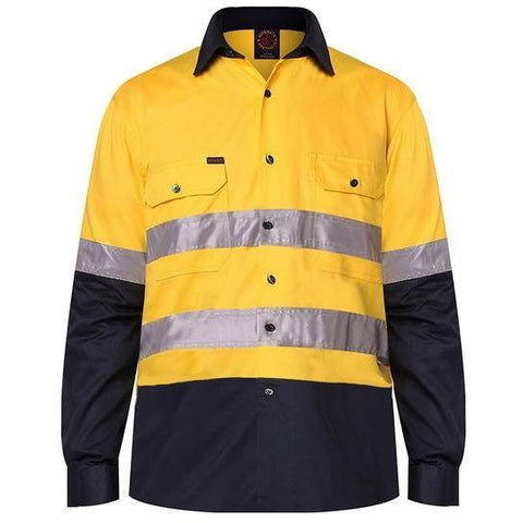 Ritemate Hi Vis Open Front Long Sleeve Taped Drill Shirt