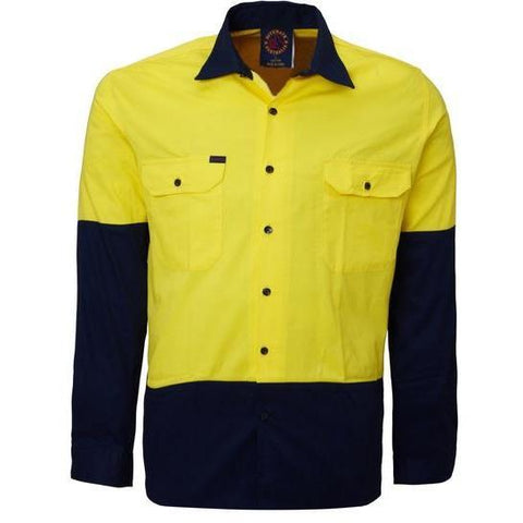 Ritemate Hi Vis Vented Open Front Long Sleeve Drill Shirt