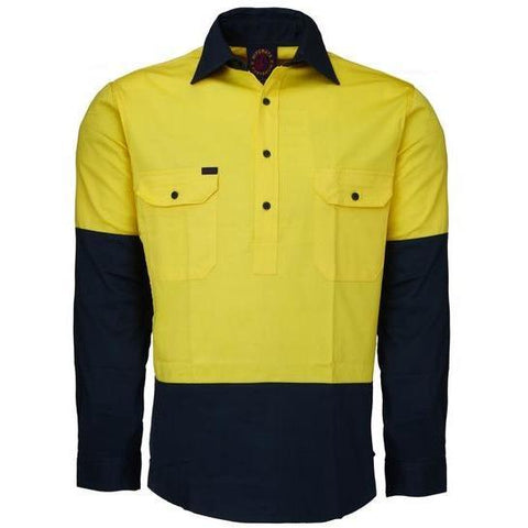 Ritemate Hi Vis Closed Front Long Sleeve Drill Shirt