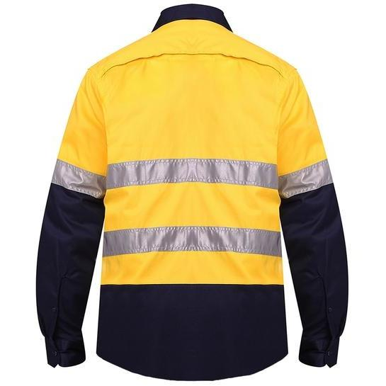 Ritemate Hi Vis Vented Openfront Taped Long Sleeve Drill Shirt