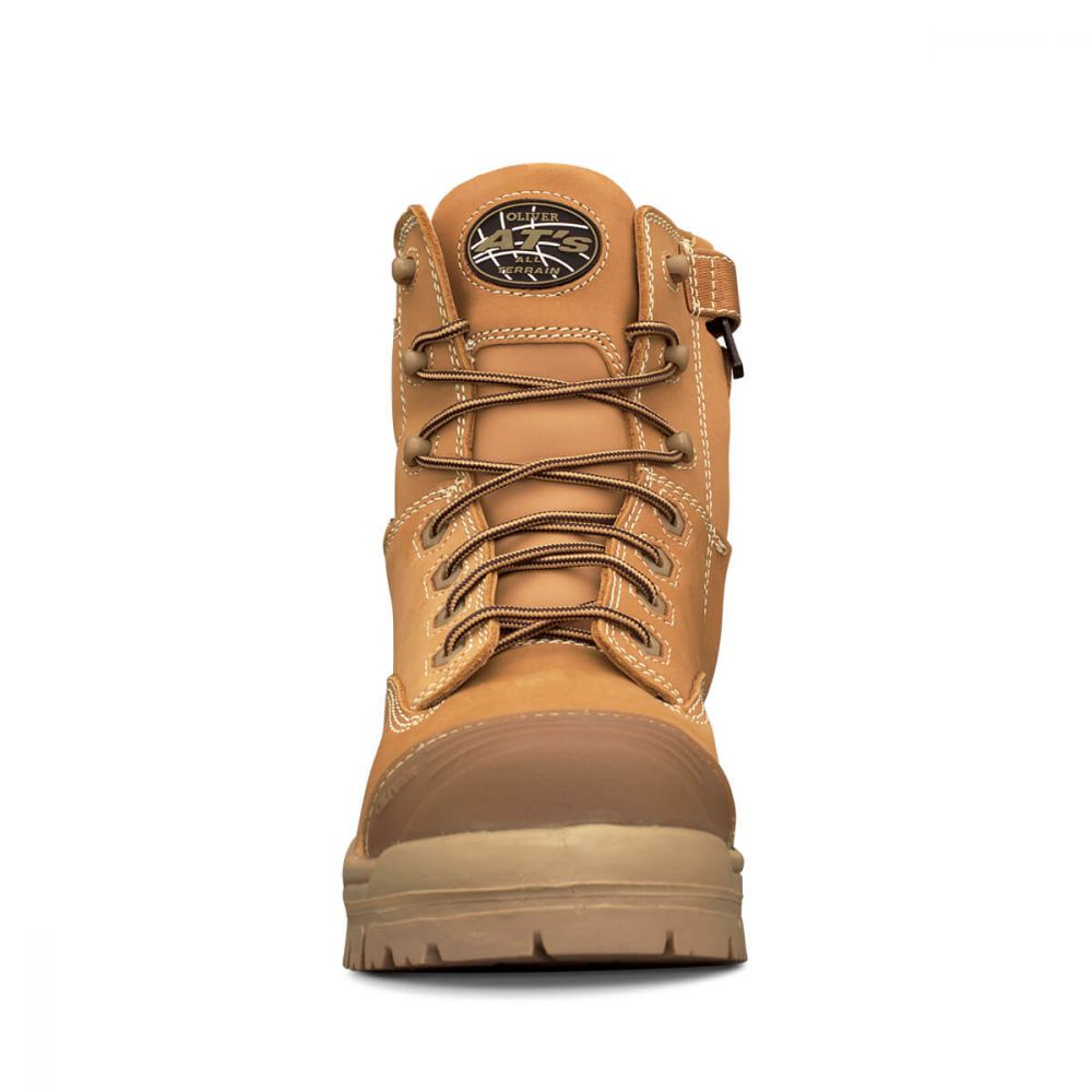 Oliver Lace Up Mid Cut Boot Wheat Zip