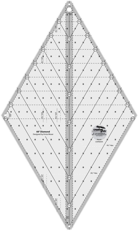 Creative Grids Non Slip 60* Diamond Ruler
