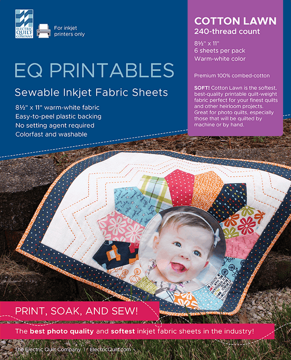 EQ Printables-25 Sewable Inkjet Fabric Sheets-Cotton Lawn