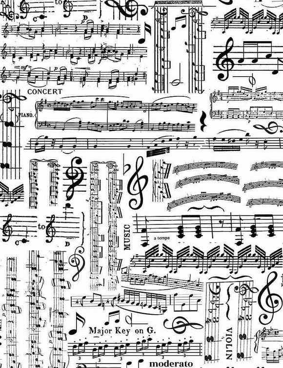Musical Music Sheets- White