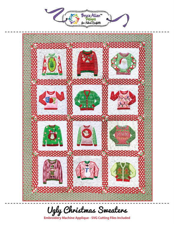 Ugly Christmas Sweaters -Machine Embroidery Pattern