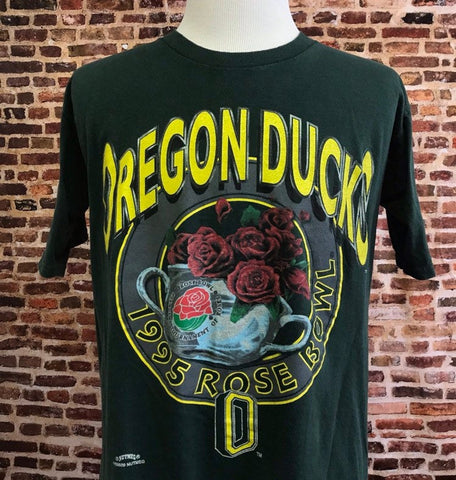 Vintage OREGON DUCKS Football Men's XL 1995 Rose Bowl Tee Shirt Rare made by Nutmeg Mills