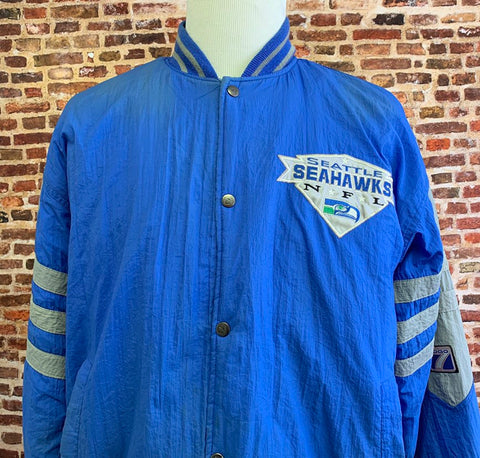 Vintage 90's SEATTLE SEAHAWKS Men's Large Puffer Jacket RARE made by Logo 7