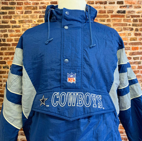 Vintage 90's DALLAS COWBOYS Men's XL Half Zip Puffer Jacket Rare made by Starter