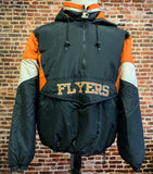 Vintage 90's PHILADELPHIA FLYERS Men's XL Half Zip Puffer Jacket Rare made by Starter