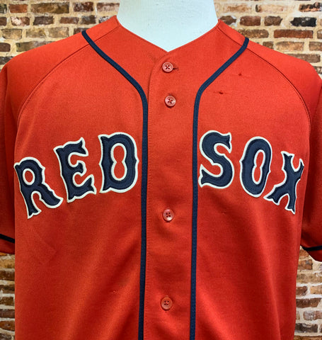 Vintage 90's BOSTON RED SOX Men's Medium Button Up Baseball Jersey Rare made by Russell Athletic