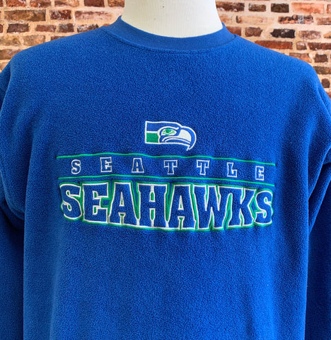 Vintage 90's SEATTLE SEAHAWKS Men's Large Fleece Pullover Crewneck Sweatshirt RARE