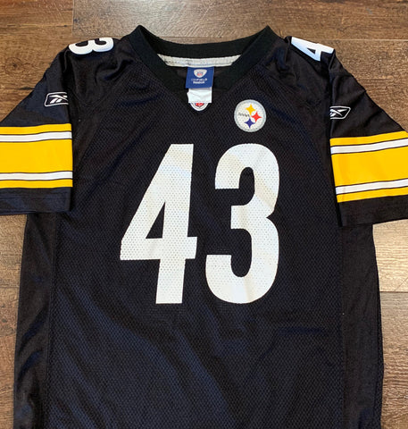 Vintage Troy Polamalu PITTSBURGH STEELERS Youth Large (Sz 14-16) Jersey RARE made by Reebok