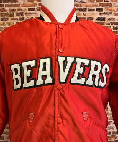 Vintage 90's PORTLAND BEAVERS Men's Medium (Sz 38) Team Issue Coach's Satin Bomber Jacket RARE