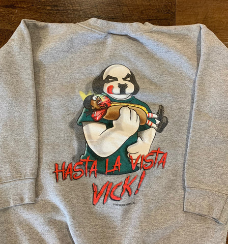 "Vintage MICHAEL VICK ""Hasta La Vista Vick"" Hotdog Men's Small Parody Crewneck Sweatshirt RARE made by Big Dog"