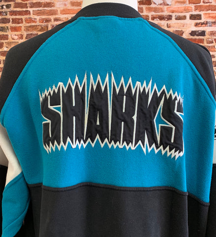 Vintage 90's San Jose Sharks Men's XL Full Zip Sweatshirt RARE made by Apex One